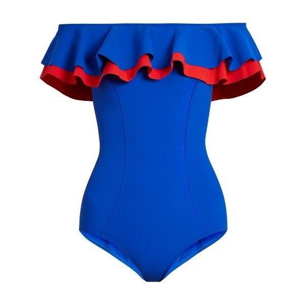 Lisa Marie Fernandez Mira flounce bonded swimsuit ($465) ❤ liked on Polyvore featuring swimwear, one-piece swimsuits, blue multi, blue one piece swimsuit, one piece swimsuit, retro bathing suits, off shoulder one piece swimsuit and retro swimwear