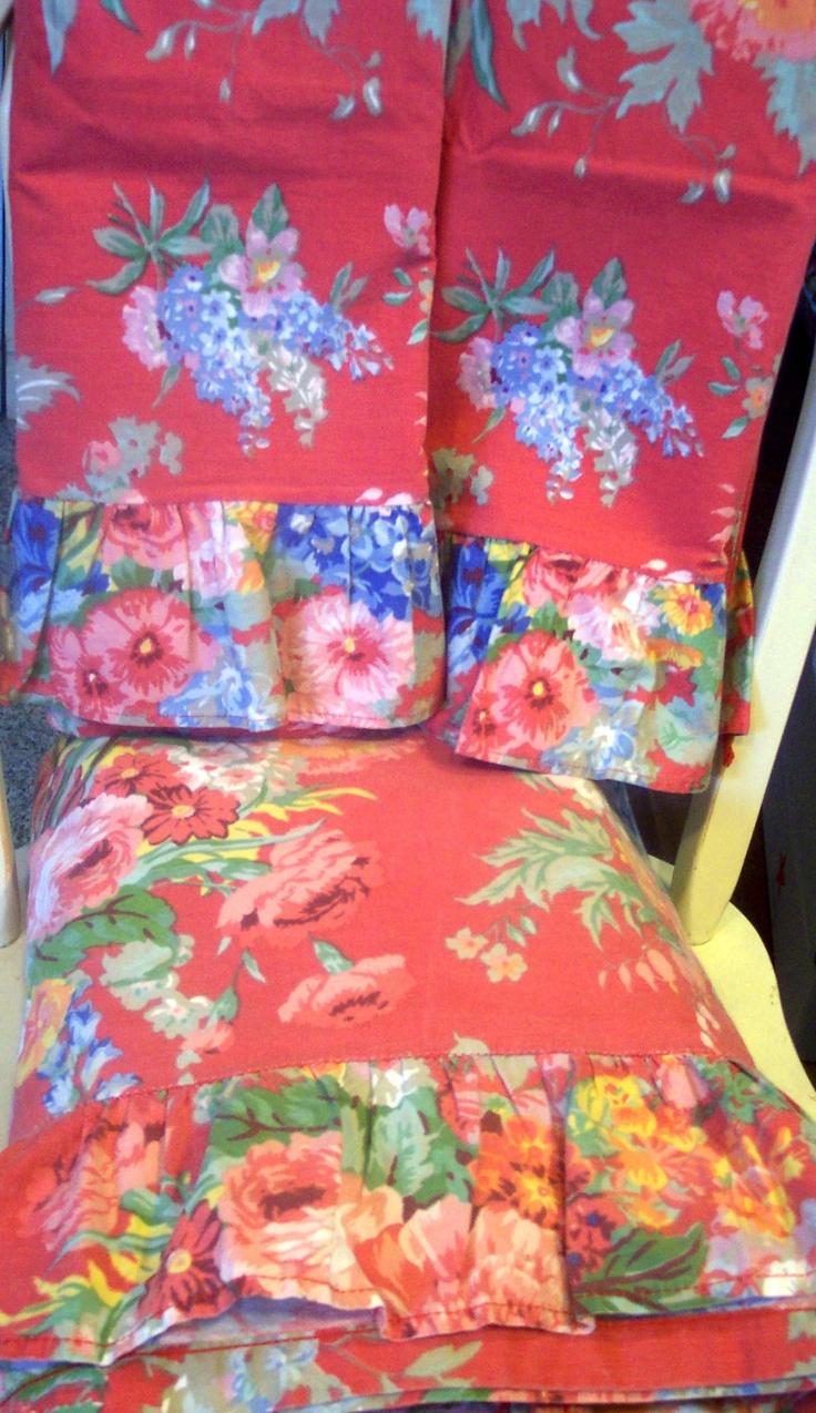 """Ralph Lauren's Beautiful Beach House Print in red.""""I had these in a queen set & used them for curtains when they became thin. Still love them.""""  JR"""