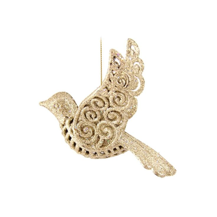 Set of 2 elegant shatterproof birds, 11,5cm. The birds are gold coloured with glitter and equipped with a hanging cord. Made of unbreakable plastic. Can be perfectly combined with all our other glitter ornaments.
