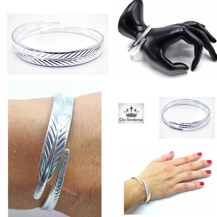 Bracelet Jonc Plume Argent à vite découvrir sur votre boutique en Ligne www.clic-tendance.fr . livré sur toute la France  en 48/72 H #jonc #manchette #femme #bracelet #plume #fashion #tendance #mode #bijoux #fantaisie #clictendance #modeuse #look #argent #plume