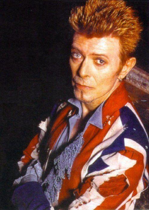 David Bowie and  Union Jack coat