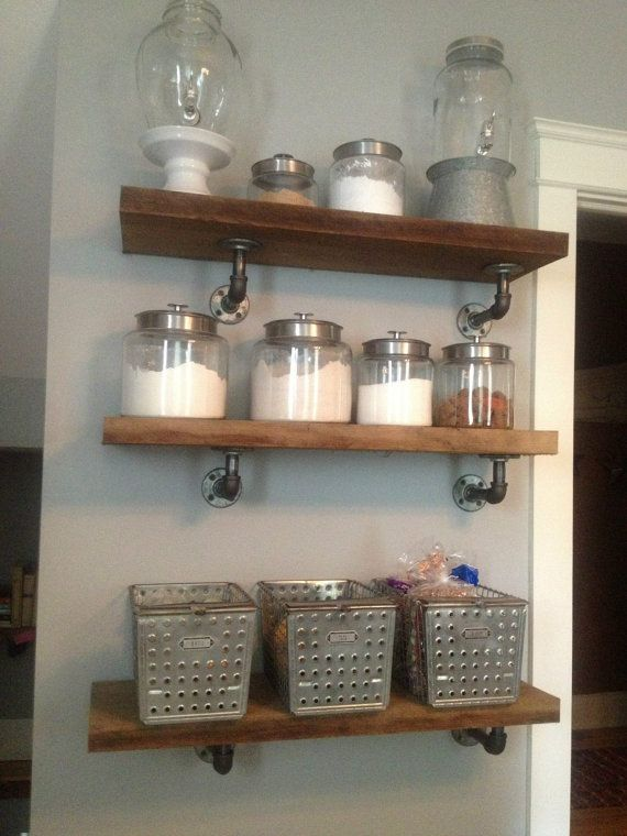 Kitchen shelves, I think so.... 3' Industrial Shelf by JessiandCompanyLLC on Etsy, $75.00