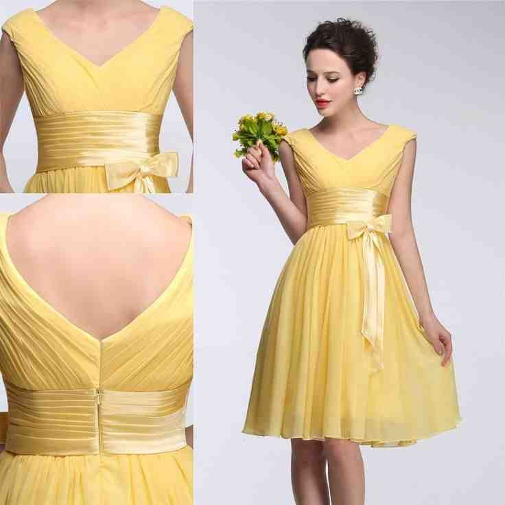 Modest Yellow Bridesmaid Dresses