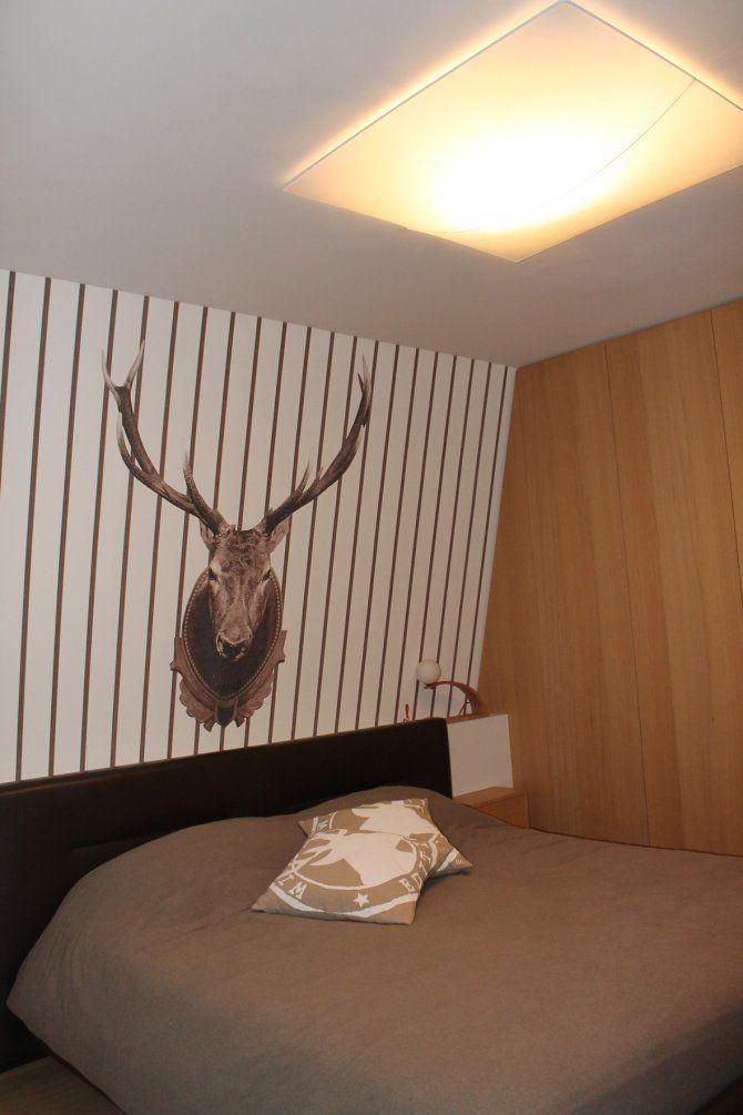 Appartamento a Foppolo - interior design - letto matrimoniale, carta da parati a righe Wall&Decò
