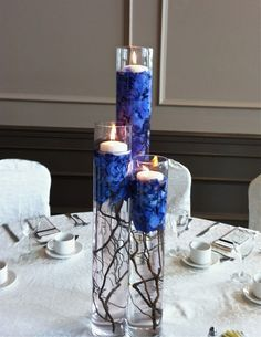 Pretty blue under the candles to stabilize them
