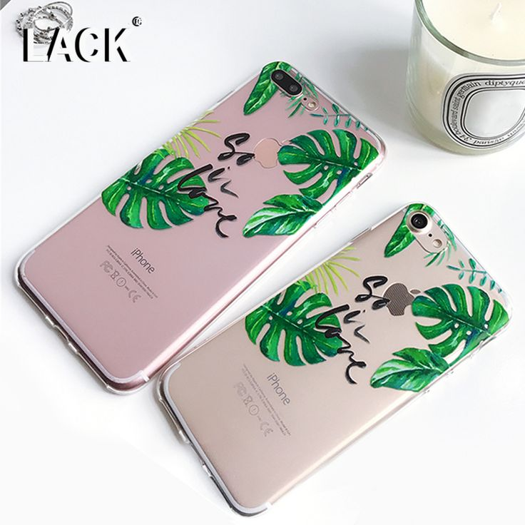 LACK Cute Leaf Series Green Case For iphne 7 Case Fashion Soft TPU Phone Cases Funny Letter Cartoon Cover For iphone7 6 6S PLus