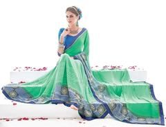 Green Color Georgette Party Wear Sarees : Runakshi Collection  YF-43072