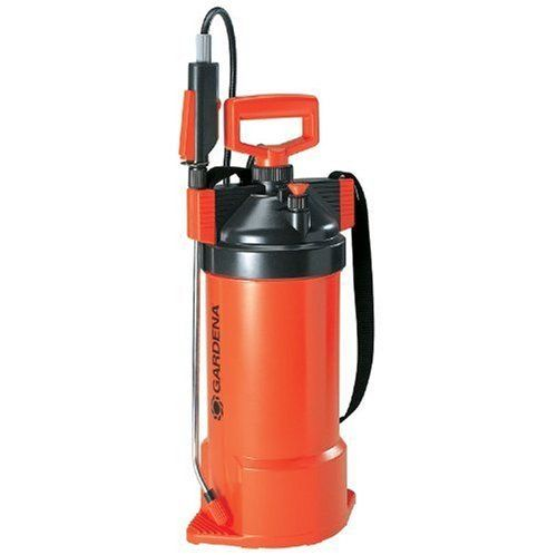 Gardena 869 5-Liter Handheld Garden Pressure Sprayer With Shoulder Strap by Gardena. $56.00. Very large filler opening.. High-quality pressure sprayer for selective fine watering of new seedlings, fertilizer and pesticide application.. Spray trigger with on/off lock.. Molded feet for easy pumping.. Pressure-resistant stable container which keeps its shape.. From the Manufacturer                Gardena's aim is to provide a simple and convenient solution to all of...