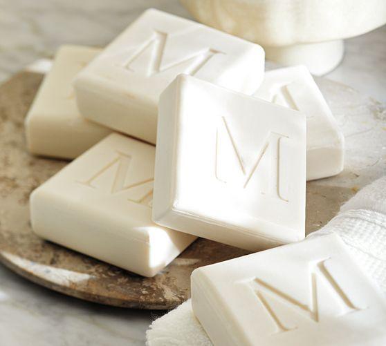 Monogrammed Square Paperwhite Soap Set   Pottery Barn
