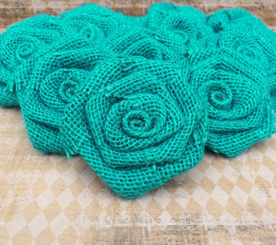 One Dozen Teal Blue Burlap Roses   DIY Rustic Accessories. Teal Rustic  WeddingRustic Wedding DecorationsCenterpieces ...