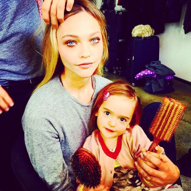 Sasha Pivovarova takes her daughter on set