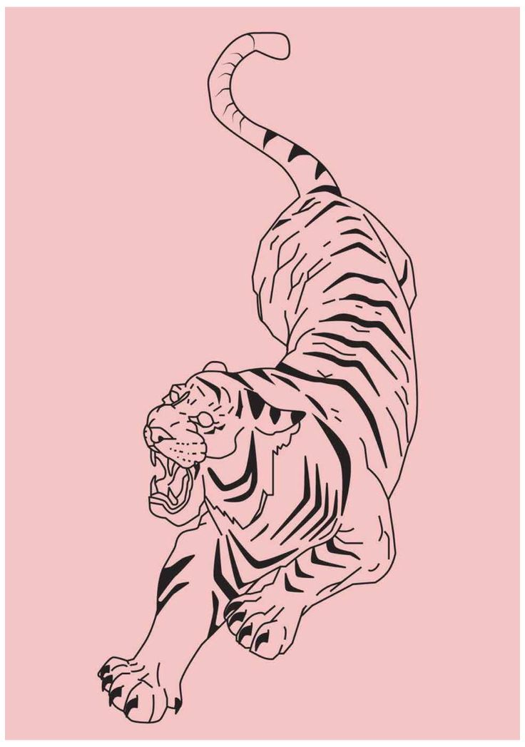 custom tiger print wall art pink aesthetic wall art