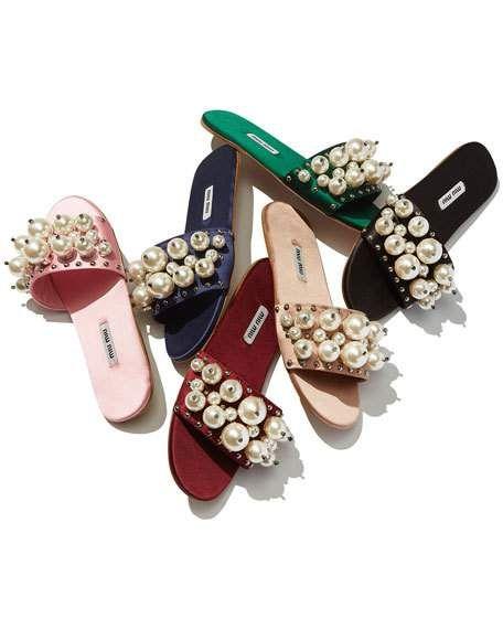 Pearly Embellished Satin Mule Slide, Miu Miu