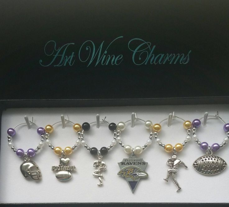 6 Baltimore, Ravens, Football, Wine Charms, NFL, Themed Party, Party Favors, Thank You, Gift, Coach, Baltimore Ravens, Cheerleaders, Cheer by PickinsGalore on Etsy