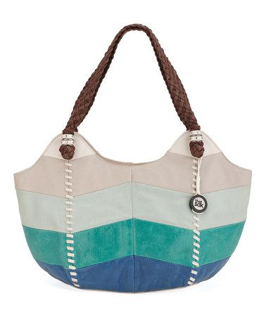 Another great find on #zulily! Cool Blue & Beige Chevron Indio Leather Satchel by The Sak #zulilyfinds