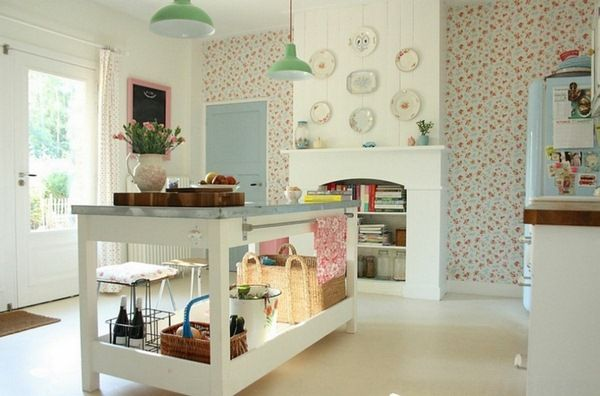Coquettish White Kitchen Interior Green Lights Rattan Decorative Plates On The Wall Vintage Wallpaper