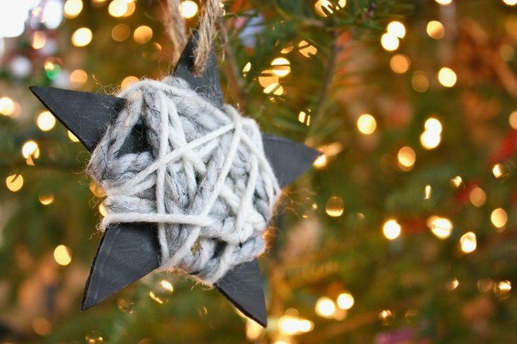 knutselen, kinderen, kleuters, kerstmis, kerstster, karton omwikkeld, craft, elementary school, preschool, Christmas, star, yarn wrapping