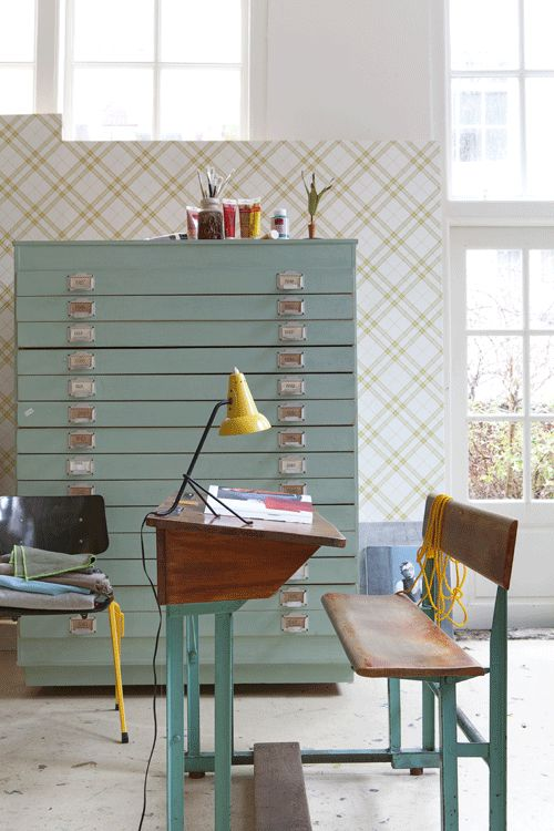 Oh those file drawers! Many other fun desk vignettes as well