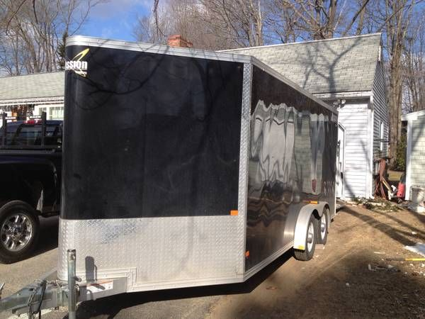 """2012 Mission 16' enclosed trailer black. This is a custom mobile wood shop inside including lights, air, and dust vac system to miter saw station and table saw. Over 30 custom drawers, full wall of cubies to hold power tools. walls have 3/4"""" plywood and ceiling has 1/2"""" plywood.trailer was 8400.00 new and have over 2500.00 in materials"""