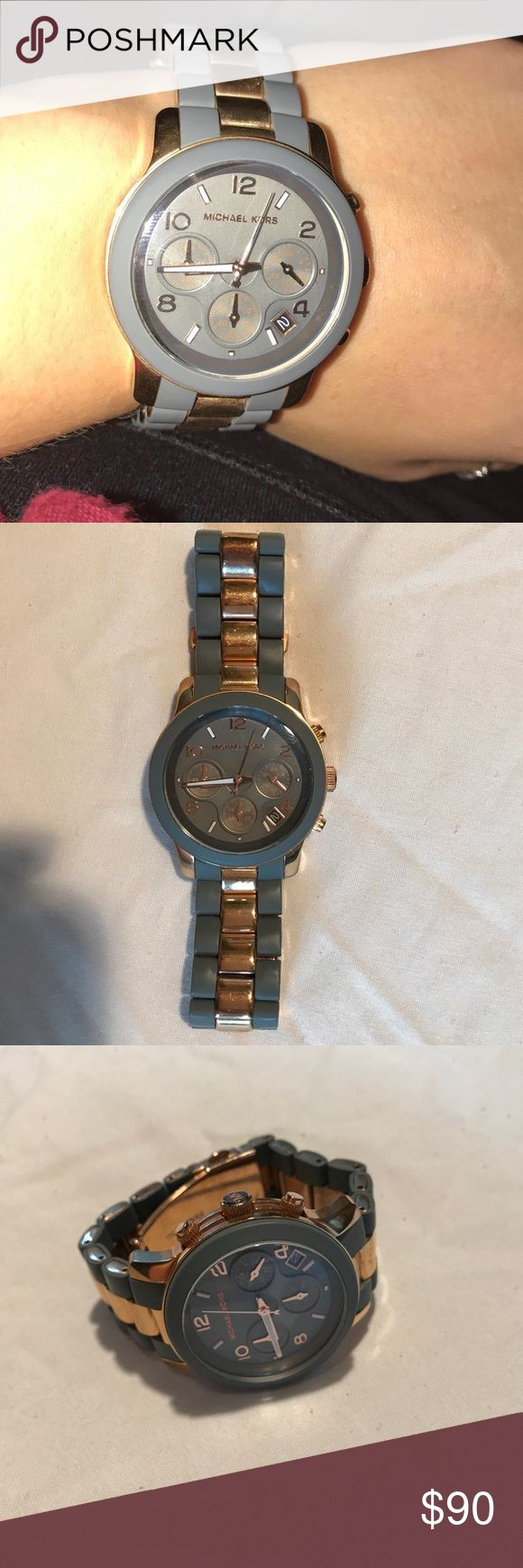 Michael Kors Grey and Rose Gold Watch Beautiful MK watch in great condition!! Looks great on the wrist and is a great accessory to all outfits! I am open to offers! KORS Michael Kors Accessories Watches