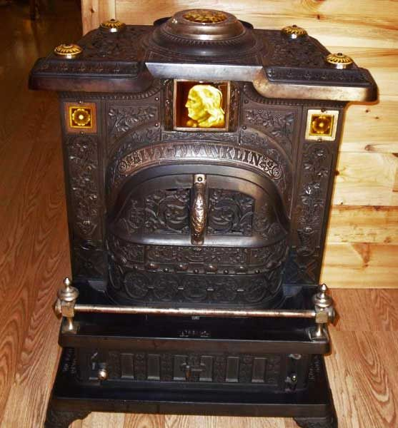 Ivy Franklin: 1885 - Very Rare! With 8 original tiles - large tile in front  is of Ben Franklin - rare. - 169 Best Images About COAL STOVES/WOOD On Pinterest Famous