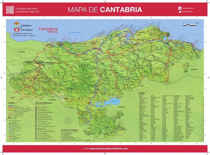 Mapa turistico cantabria  Mapa de Cantabria y Santander con carreteras y puntos de interés. Descárgatelo y llega a todas partes.