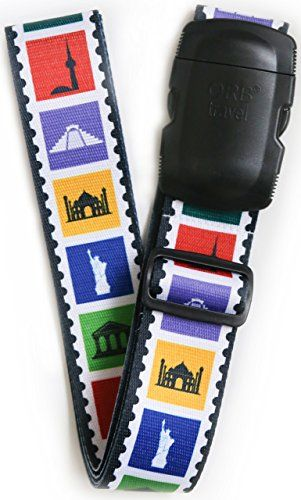 From 5.99 Orb Travel-ls315-landmarks-multi-colour-premium Designer Luggage Strap 2mx5cm