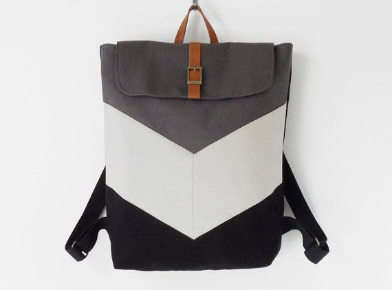 Black and gray canvas chevron backpack / Laptop bag / von BagyBags