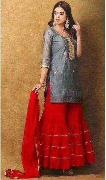 Slate Grey Color Chanderi Silk Embroidery Straight Cut Sharara Suit   FH580185666 Follow us @Heenastyle #punjabiwedding #punjabisuit #shararasuits #green #pink #uniquesdesign #shararasuit #desi#pakistani #love #bollywood #lehenga #anarkali #traditional #indianclothes #sharara #handwork #handembroidery #gota #gotawork #punjabi #punjabidress #ethnic #ethnicdress #boutique #custommade #bespoke #instafashion #instachic #heenastyle
