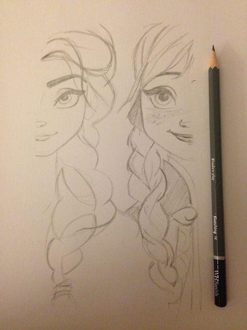 Elsa Anna pencil sketch