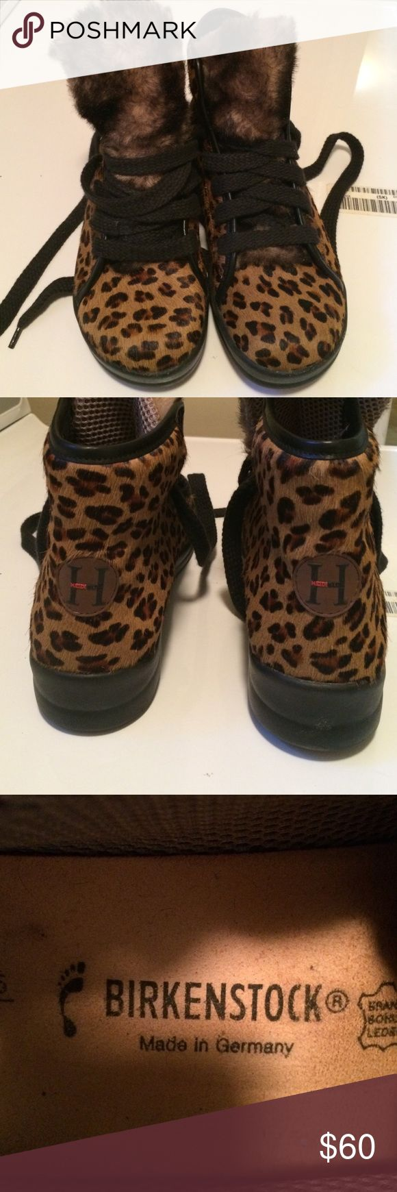 Rare Birkenstock Sneakers Heidi Klum SE Super cute Birkenstocks ! Pony hair, Faux animal fur and print. Good condition but they could use some new shoe laces. Super comfortable! Birkenstock Shoes Sneakers