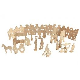 Toy for self-decoration, consists of a scene, 20pcs of  moving figures on the holders, 8pcs of poster paints and brush. The whole packed in a cardboard box of dimensions: 40x50x4cm. Made by Neo-Spiro.