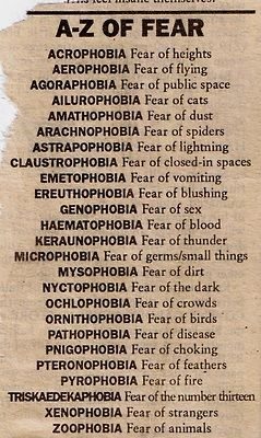 And as you see dogs have no special name for fear on this list. Because they are Angels [for the most] ^^^ Oh, honey, there are a lot more phobias than that