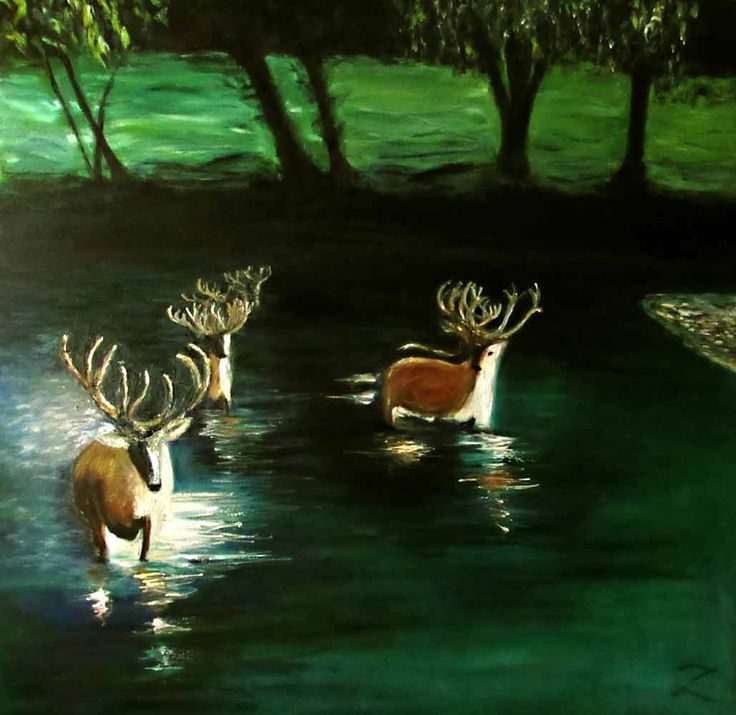 "Series: #SaveOurCoast Artist: Zipolita Title: Deer in Water #2 Media: Oil on Canvas Size: 30"" x 30"" Price: $800 Cdn  Serious Inquiries Only"