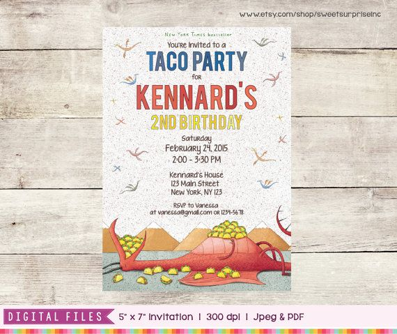 ♥♥ PLEASE READ HOW TO ORDER LIST BELOW ♥♥  Welcome to SweetSurpriseInc :)  Dragons Love Tacos Invitation -- perfect for your awesome Dragons