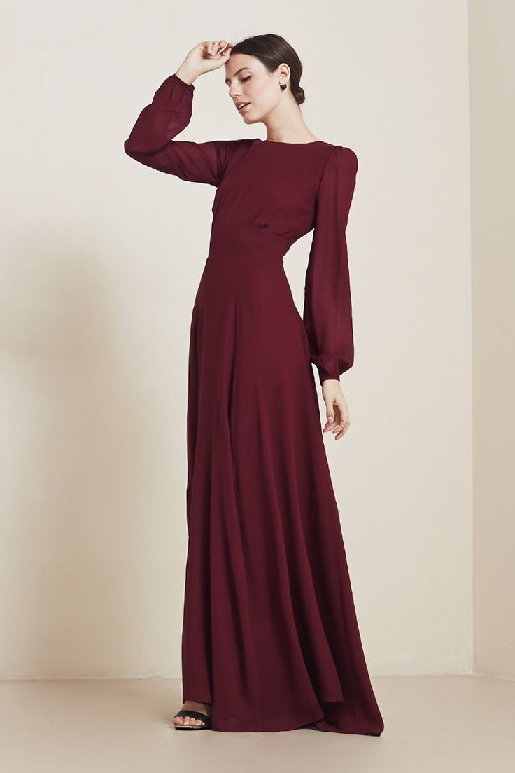 This dress (The Veronica, by The Reformation) in white. Or in black for the bridesmaids, holy moly.