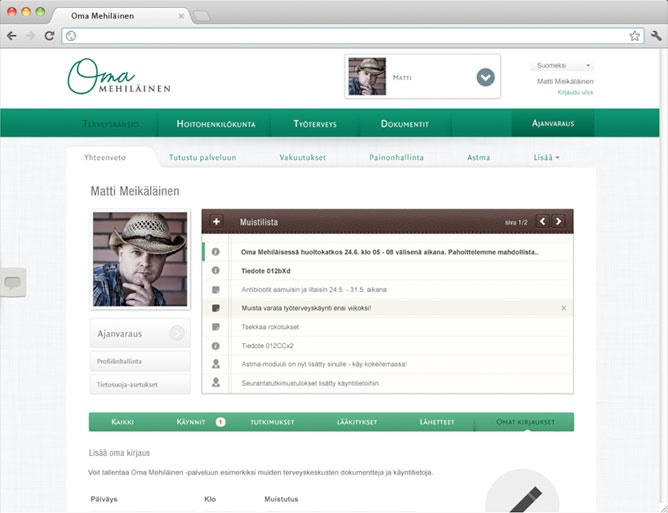 Screenshot of OmaMehilainen.fi