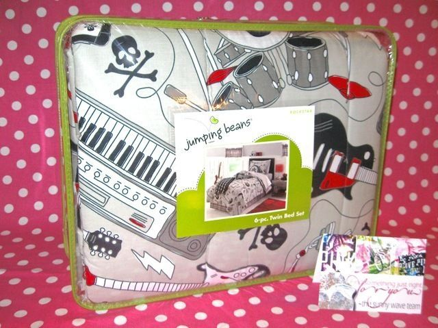 NEW! BOYS KIDS YOUTH ROCK/MUSIC/GUITAR 6 PC TWIN BED COMFORTER SET IN BAG NWT #JUMPINGBEANS #REVERSIBLECOMFORTERSHEETSSHAMPILLOWBEDSKIRT