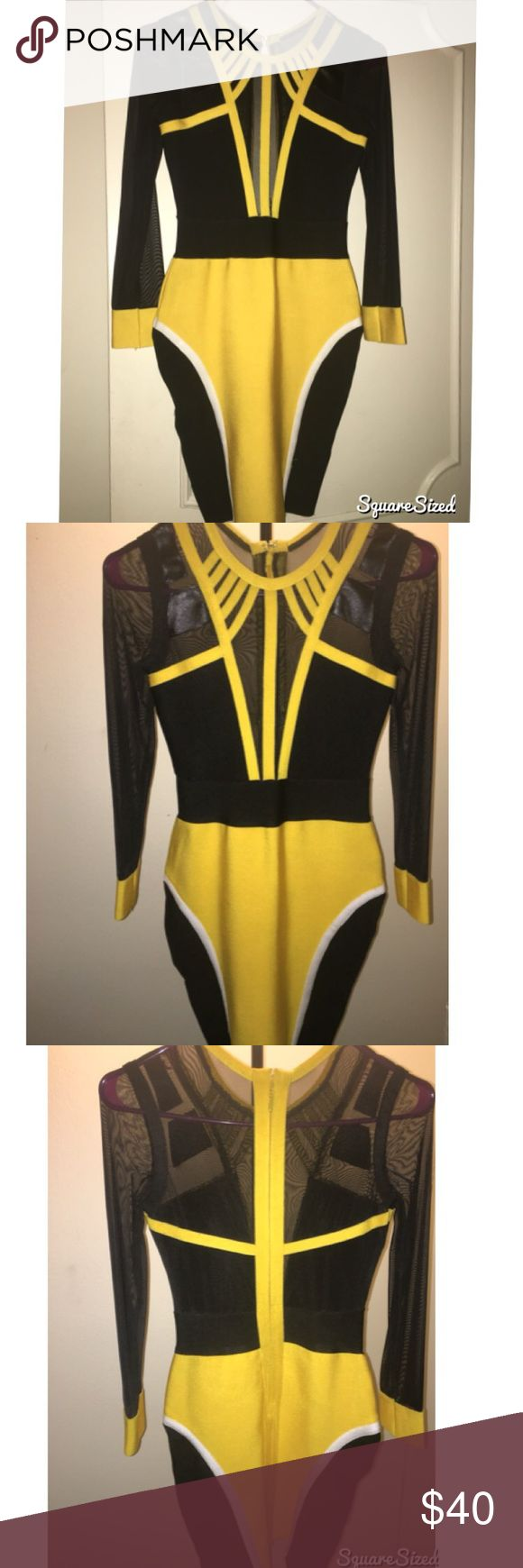 🔸New🔸Mesh Style Long Sleeve Bandage Dress✨ Leave a lasting impression in this high impact mesh Bandage Dress😻 Mesh long sleeves, mesh bust panels, Color: Bright yellow💛 and Black⚫️, hits above the knee, covered centered back zipper with hook and eye closure. Material: Rayon, Nylon & Spandex. Tried item on once but never wore outdoors👆🏽🚨🚨🚨🚨🚨🚨🚨🚨🚨🚨🚨🚨🚨🚨🚨 Dresses Long Sleeve