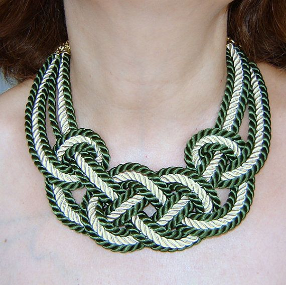 SALE.Forest green  and ivory sailor knot by agatsknitting on Etsy, $21.00