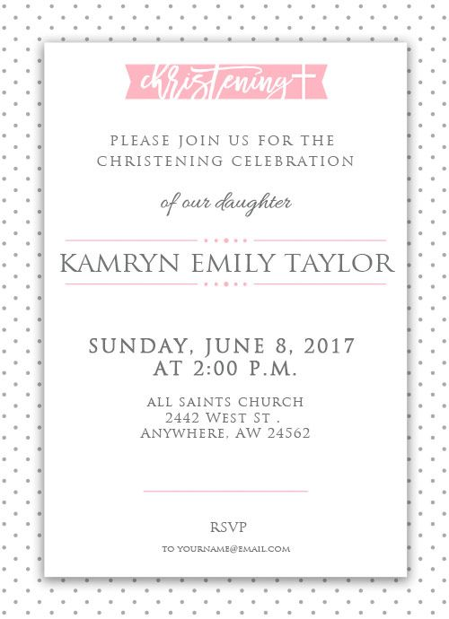 Adorable girl christening invitation and it's FREE!