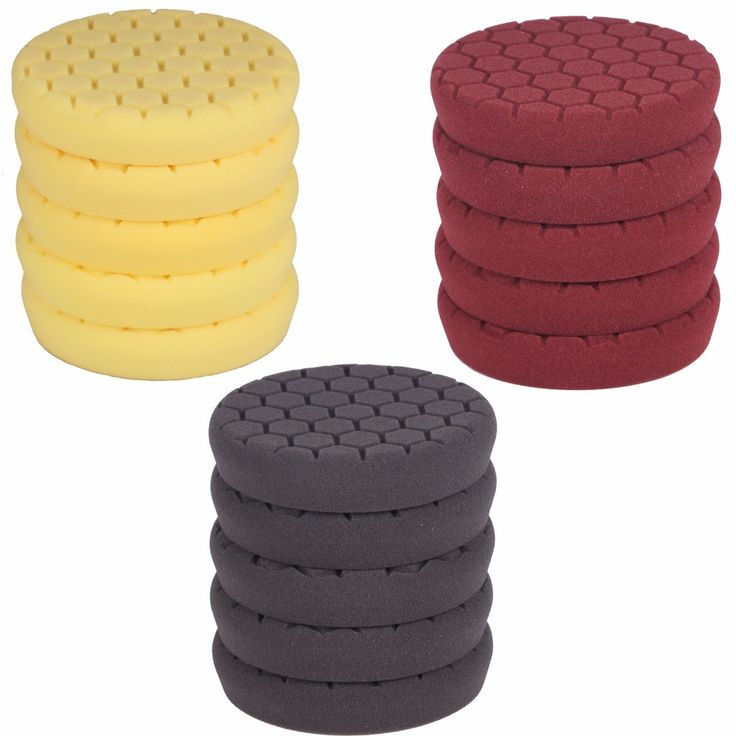 SPTA 4Pcs 6 Inch (150mm) Black/Brown/Yellow Buffing Pad Polishing Pad kit For Car Polisher --Select Color You Want #spta