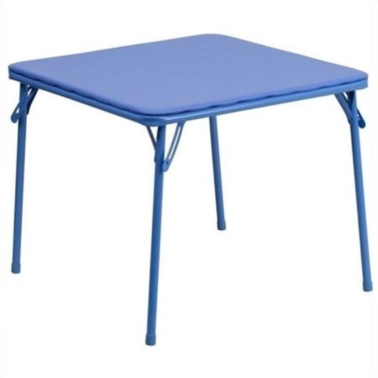 Kids Blue Folding Table 24''W x 24''D x 20.25''H Perfect For Little Ones Games  #FlashFurniture