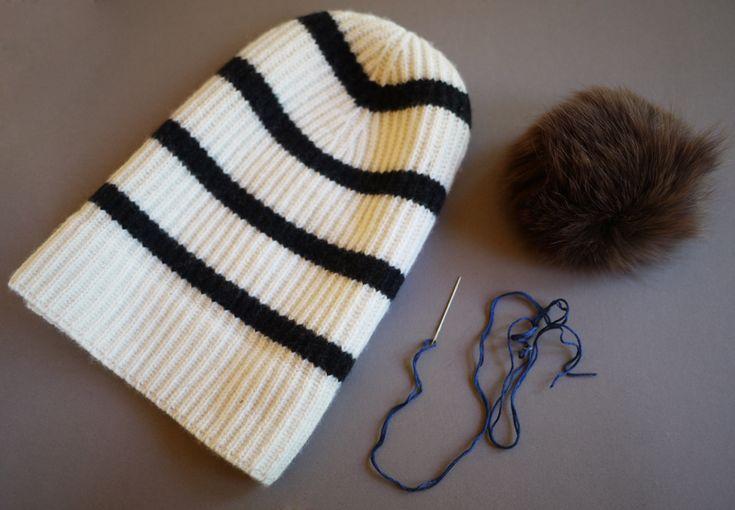 make your own fuzzy pom pom beanie!