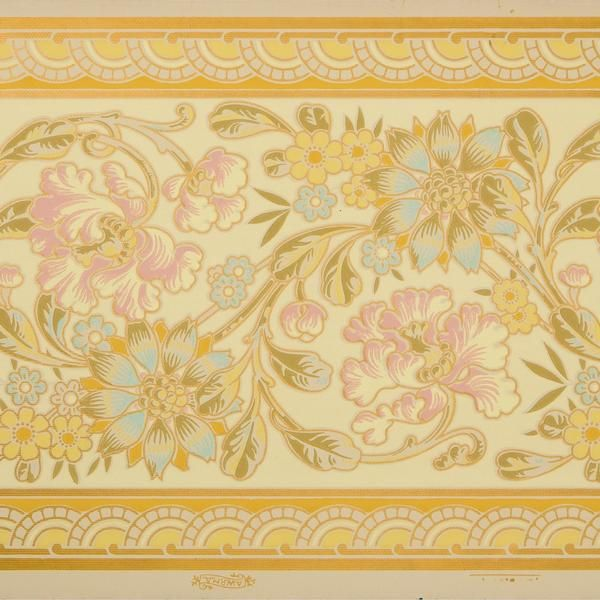 Large Stylized Floral Foliate Border Antique Wallpaper Remnant Antique Wallpaper Original Wallpaper Stylized