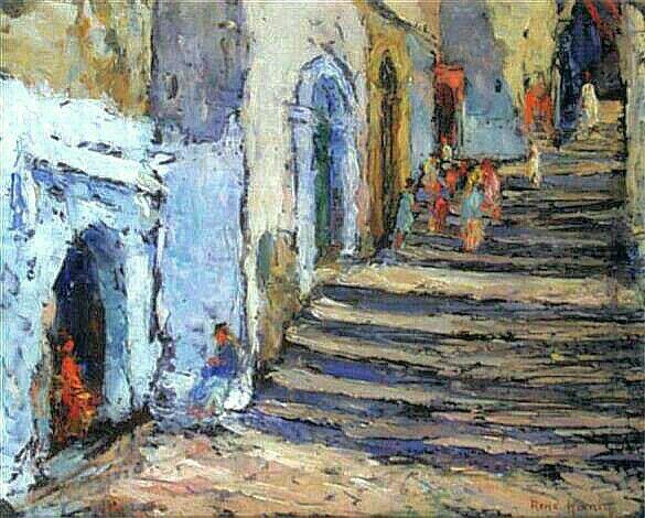 Peinture d'Algerie : Peintre Français, René Hanin, (1873–1943),Huile sur toile, Titre: Rue en escaliers dans la casbah.