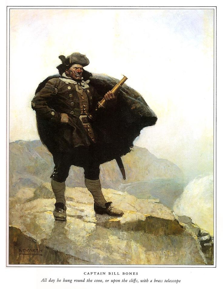 """Captain Bill Bones"" by N.C. Wyeth.... painted for Robert Louis Stevenson's 'Treasure Island'"