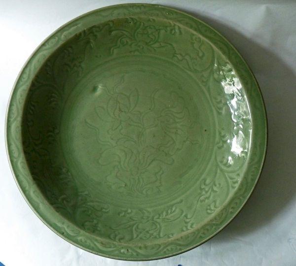 Yuan / Ming Longquan Celadon Deep Saucer Plate