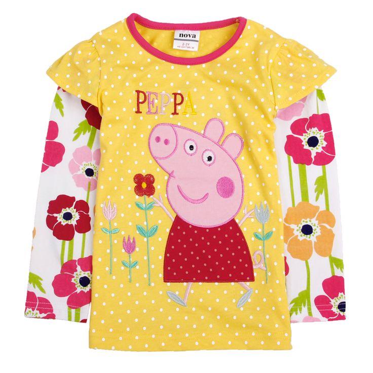 Polera Amarilla manga laraga Peppa Pig, Tallas 18 meses a 6 años, valor 8.990.-