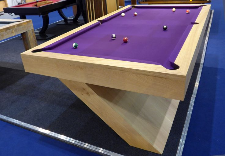 Bespoke 8ft Cantilever Pool or Snooker table; handmade from Oak with natural finish and purple cloth. see more at www.billiards.co.uk